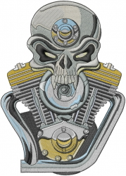 Gearhead Skull Engine embroidery design