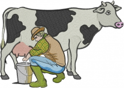 Man Milking Cow embroidery design