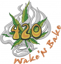 Wake N Bake embroidery design