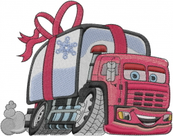 Christmas Delivery Truck embroidery design