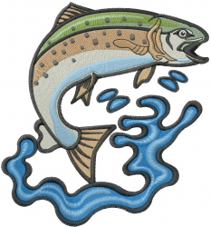 Jumping Trout embroidery design