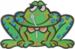 Frog Clock embroidery design