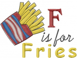 F Is For Fries embroidery design
