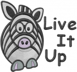 Live It Up embroidery design