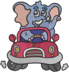 Elephant Driving Car embroidery design
