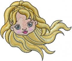 Mermaid Head embroidery design