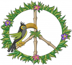 Tropical Peace Sign embroidery design