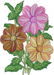 Dahlia Coccinea embroidery design