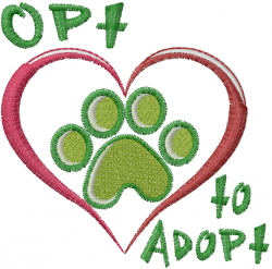 Opt To Adopt embroidery design