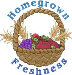 Homegrown Freshness embroidery design