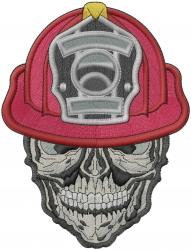 Firefighter Skull embroidery design