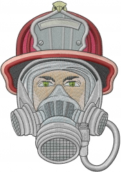 Fireman With Mask embroidery design