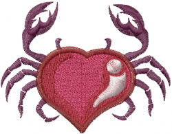 Heart Crab embroidery design