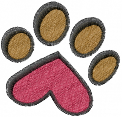 Heart Dog Paw embroidery design