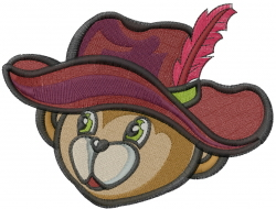 Sheriff Bear Head embroidery design