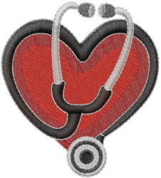 Stethoscope Heart embroidery design