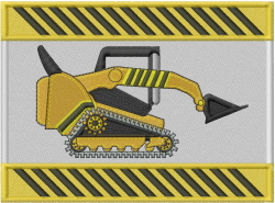 Bobcat Caution embroidery design