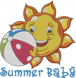 Beach Ball Summer Baby embroidery design