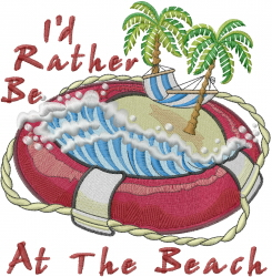 Rather Be At The Beach embroidery design