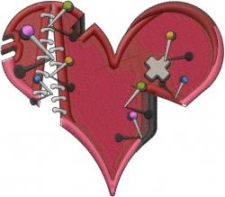 Broken Love Heart embroidery design