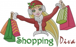 Christmas Shopping Diva embroidery design