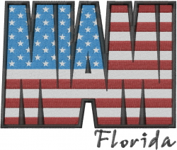 Miami Flag embroidery design