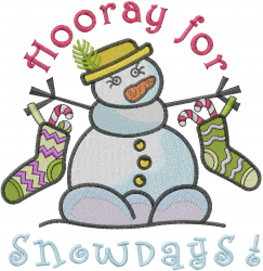 Snowdays Hooray embroidery design
