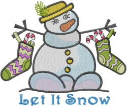 Snow Snowman embroidery design