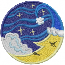 Crescent Moon Night embroidery design