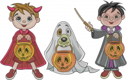 Trick Or Treat Kids embroidery design