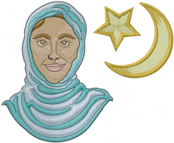 Muslim Girl Head embroidery design