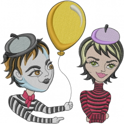 Mime Love embroidery design