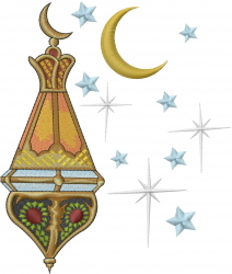Lantern Crescent Moon embroidery design