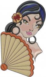 Flamenco Dancer Head embroidery design