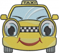Happy Taxi embroidery design