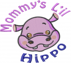 Baby Hippo_face_Mommys Lil_ embroidery design