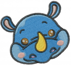 Rhinocerous Head embroidery design