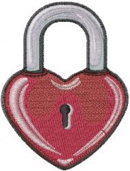 Valentine Padlock embroidery design