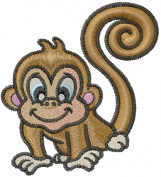 Circus Monkey embroidery design