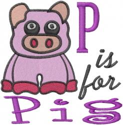 P Pig embroidery design