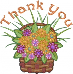 Thanks Basket embroidery design