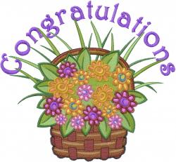 Congratulations Basket embroidery design