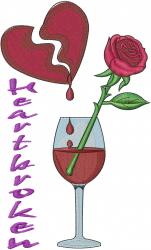 Heartbroken Wine embroidery design