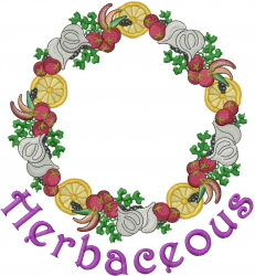Herbaceous Wreath embroidery design