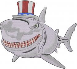 American Shark embroidery design