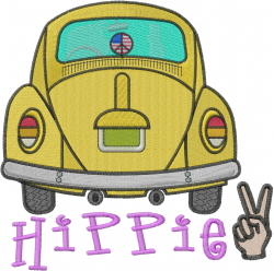 Beetle Hippie embroidery design