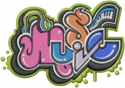 Musical Graffiti embroidery design