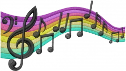 Musical Rainbow embroidery design