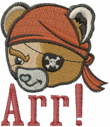 Pirate Bear Head embroidery design