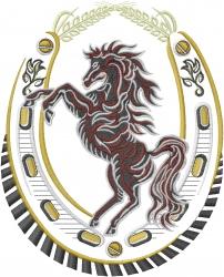 Stallion Horseshoe embroidery design